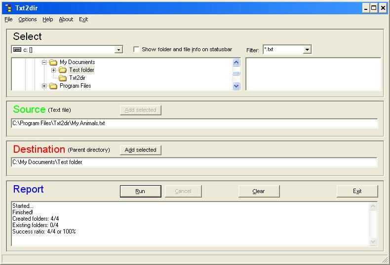 Txt2dir Screen shot