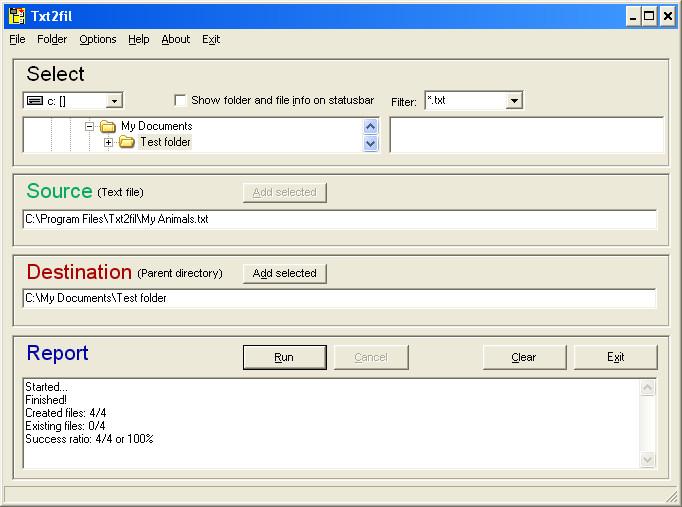 Click to view Txt2fil 3.0 screenshot